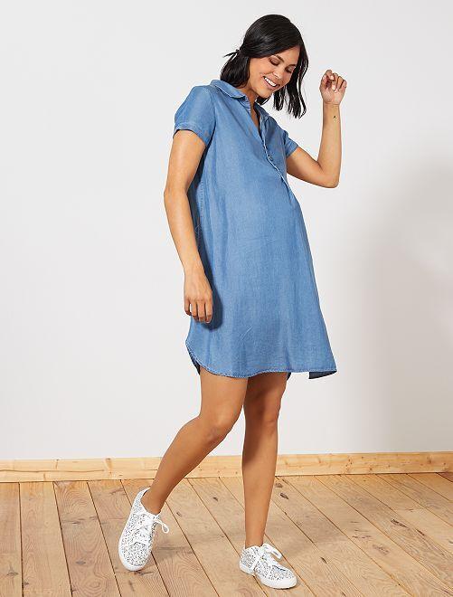 Robe de grossesse en lyocell                             bleu Femme