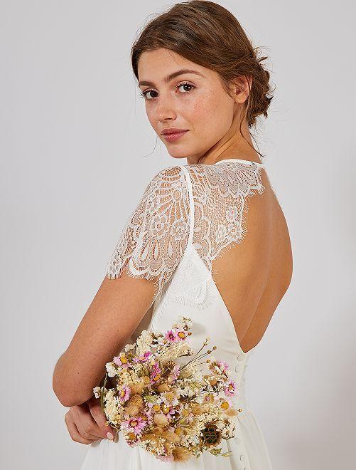 Robe de mariée mancherons en dentelle                             blanc Femme