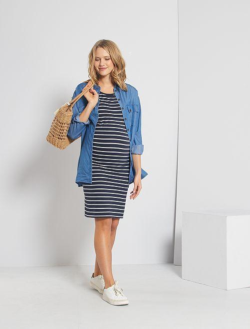 Robe de maternité 'éco-conception'                                         bleu marine rayé