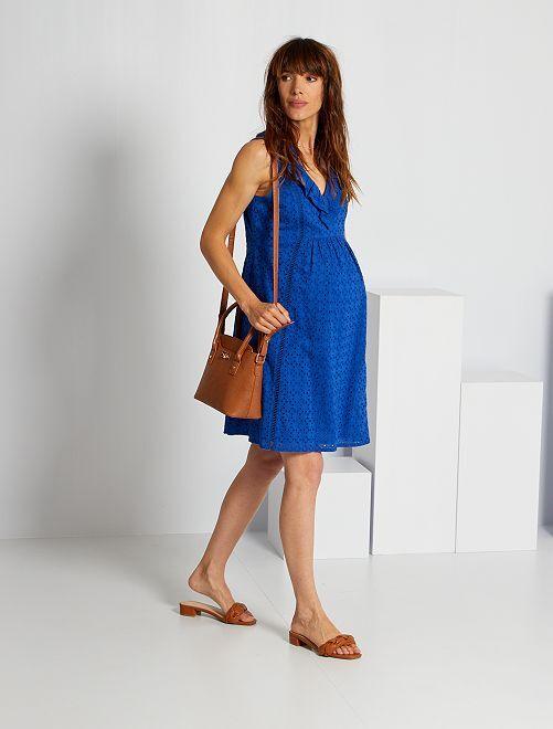Robe de maternité en broderie anglaise                                                     bleu océan