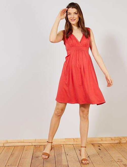 2d38252220 Robe de maternité esprit babydoll Femme - rouge cerise - Kiabi - 12,00€