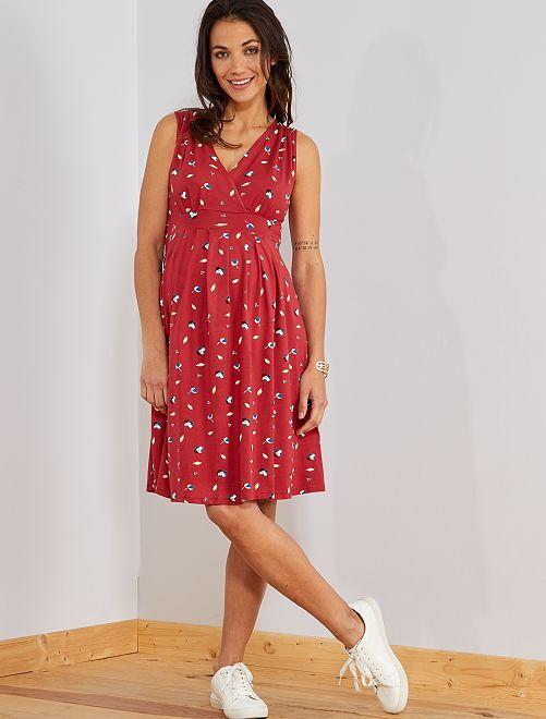 abf4873d21 Robe de maternité esprit babydoll Femme - rouge fleuris - Kiabi - 9,00€