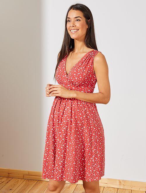 Robe de maternité esprit babydoll                                                                             rouge/blanc Femme