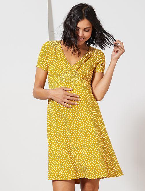 Robe de maternité imprimée                                                                 jaune Femme