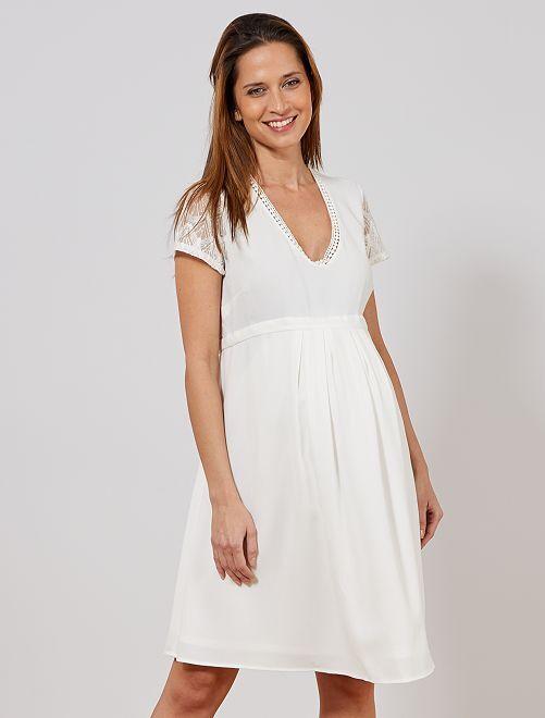 Robe de maternité midi                                         blanc Femme