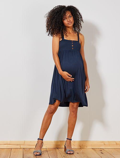 Robe de maternité smockée                                 bleu marine