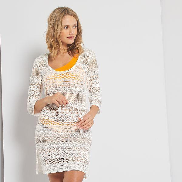 Robe De Plage En Crochet Femme Blanc Casse Kiabi 16 00