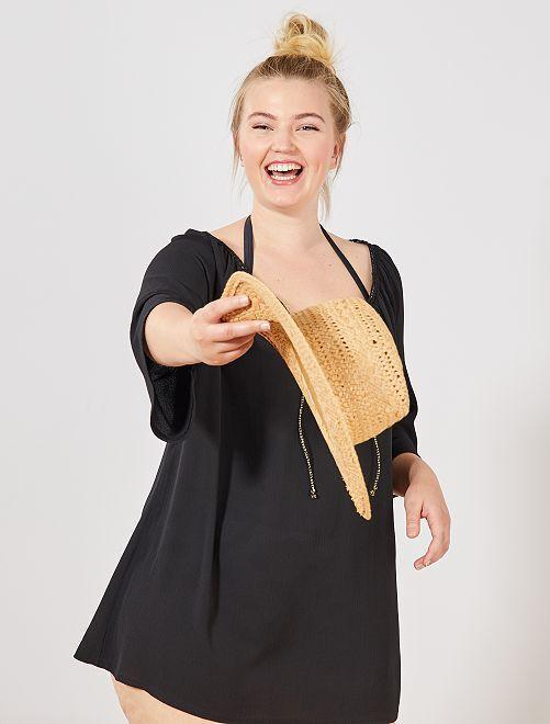 Robe de plage encolure dorée                                         noir Grande taille femme