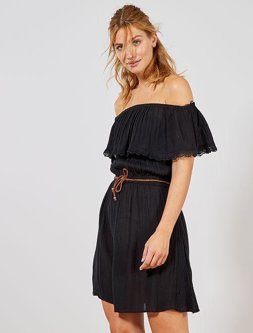 Robe de plage style Bardot avec volants                                 noir Femme