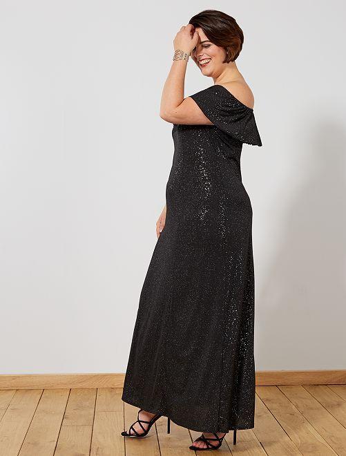 Robe de soirée longue à paillettes                             noir