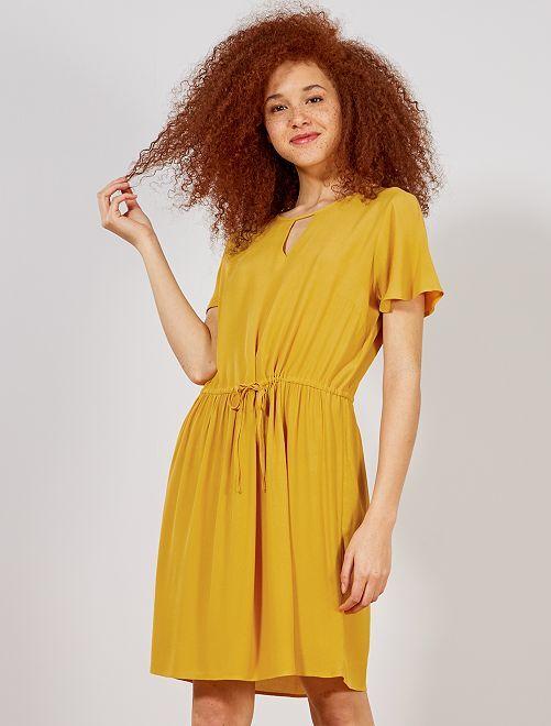 Robe décolleté devant et dos                                                                                         jaune Femme