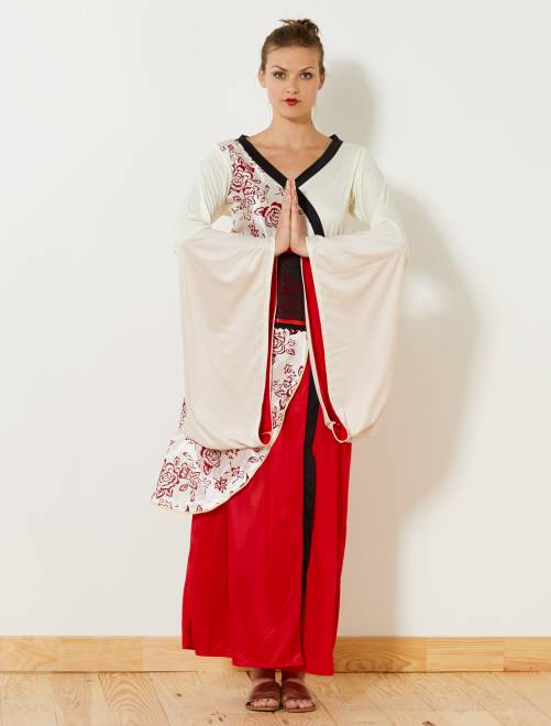 Robe déguisement esprit kimono                             rouge/blanc