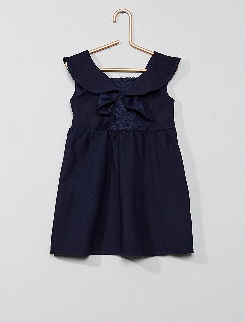 Robe dentelle volantée                                         bleu Bébé fille