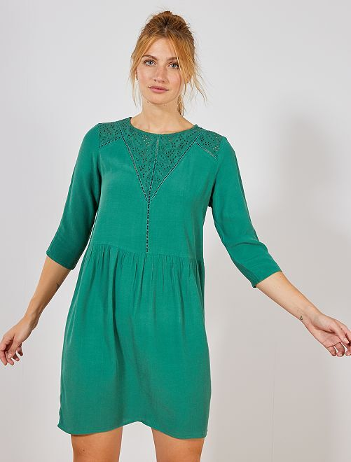 Robe détail broderie anglaise au col                                         vert pin Femme