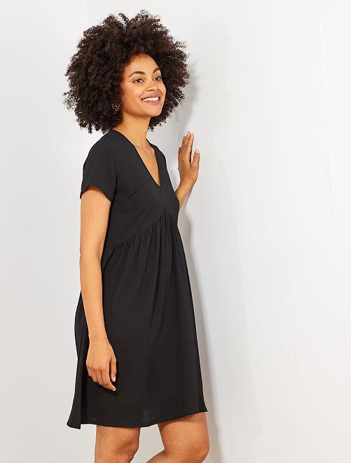 Robe droite fluide découpe empire                             noir Femme