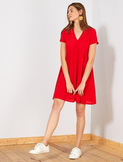 Robe droite fluide découpe empire                                         rouge Femme