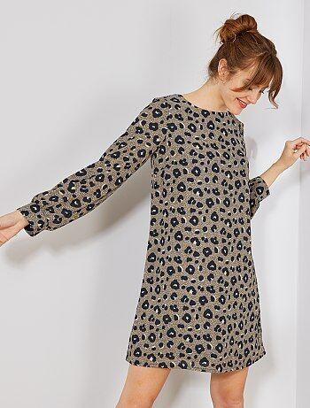 Femme du 34 au 48 - Robe droite imprimé 'léopard' - Kiabi