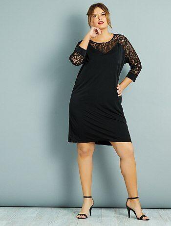 Grande taille femme - Robe droite plastron et manches dentelle - Kiabi