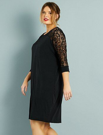 robe droite plastron et manches dentelle grande taille femme noir kiabi 20 00. Black Bedroom Furniture Sets. Home Design Ideas