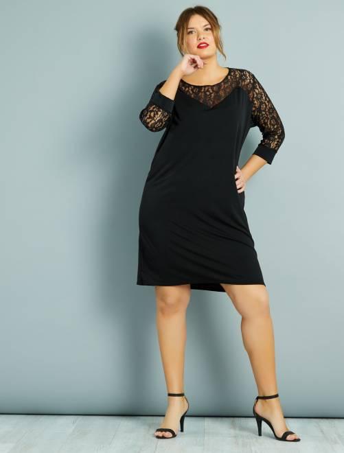 Robe droite plastron et manches dentelle                             noir Grande taille femme