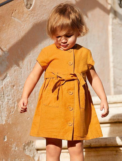 Robe en coton et lin                             ocre Bébé fille