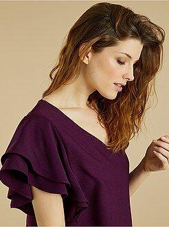 Robe violet - Robe en crêpes manches volantées - Kiabi