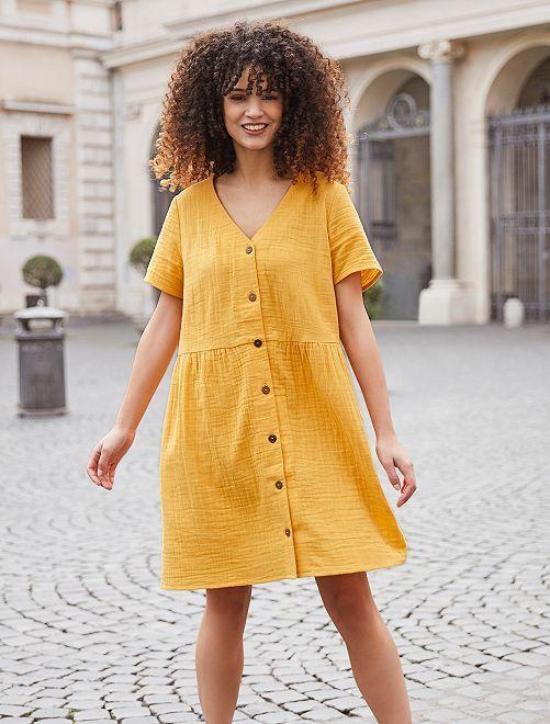 Robe en gaze de coton                             jaune Femme