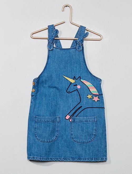 Robe en jean licorne                             bleu Fille