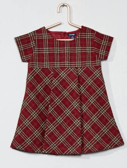 Robe en lainage à carreaux                             rouge Bébé fille