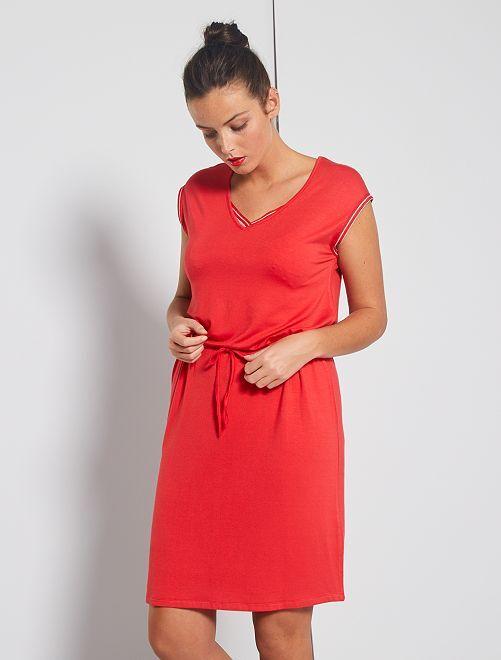 Robe en maille avec détails brillants                     rouge