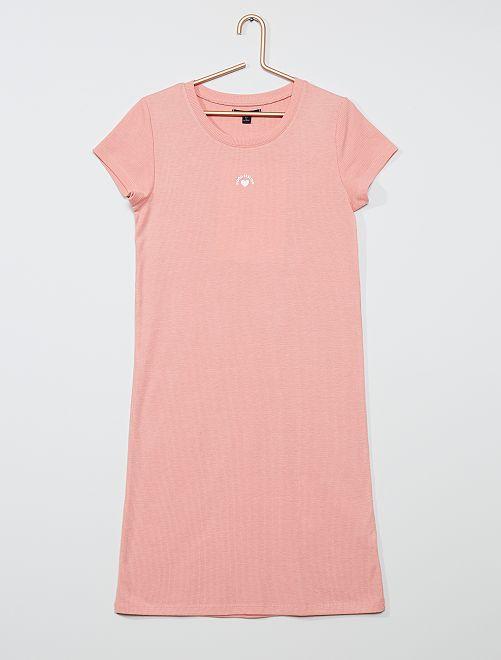 Robe en maille côtelée                                                                             rose