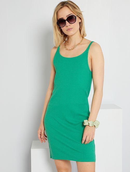 Robe en maille côtelée                                                                             vert
