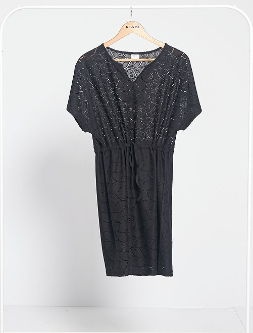Robe en maille dentelle ajourée 'JDY'                                 noir