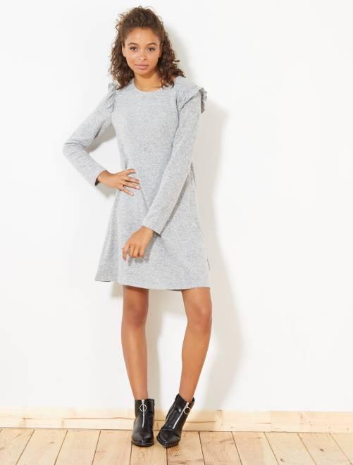 Robe en maille douce et volants                                         gris chiné clair Femme