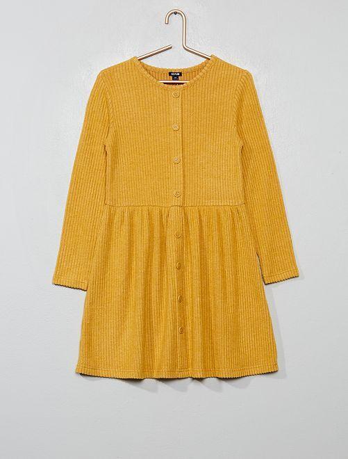 Robe en maille 'doudou' côtelée                                                                 jaune moutarde