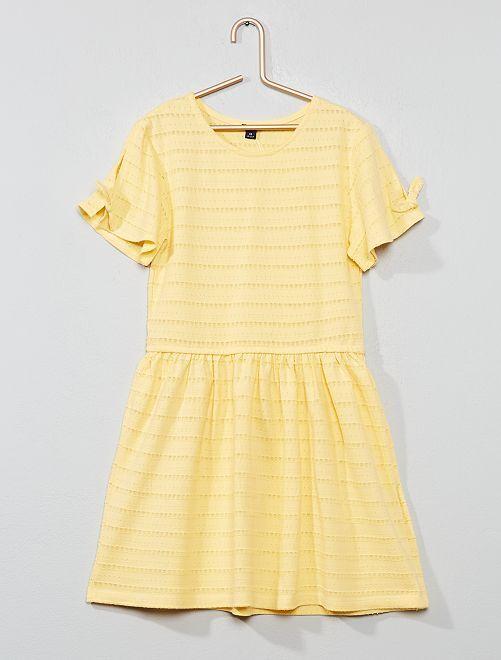 Robe en maille fantaisie ajourée                                                                             jaune Fille