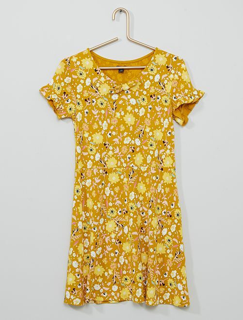 Robe en maille jersey imprimée                                                                 jaune moutarde