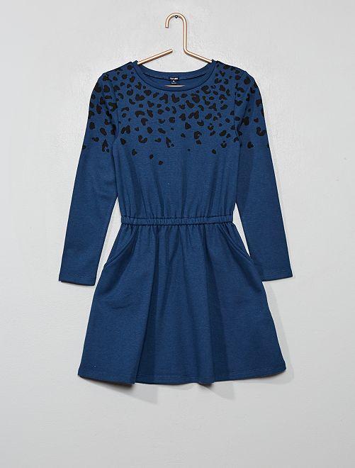 Robe en maille motif 'zèbre'                                         bleu léopard