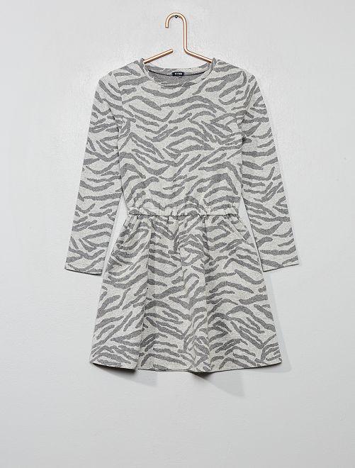 Robe en maille motif 'zèbre'                                                                 gris zèbre