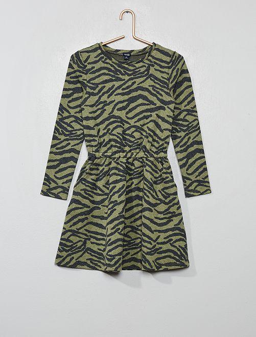 Robe en maille motif 'zèbre'                                                                 kaki zèbre