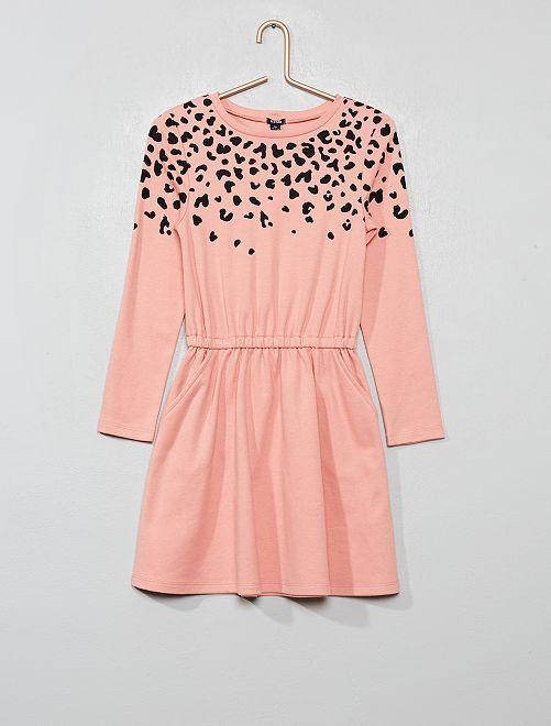 Robe en maille motif 'zèbre'                                                                 rose léopard