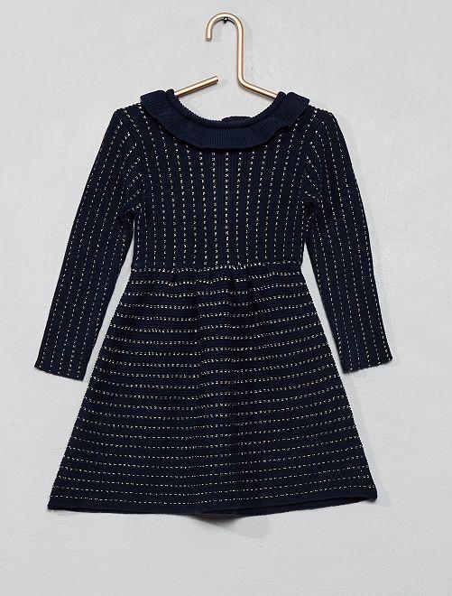 Robe en maille tricot                                 bleu marine