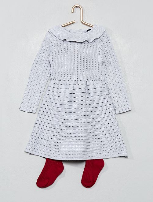 Robe en maille tricot                                                     gris