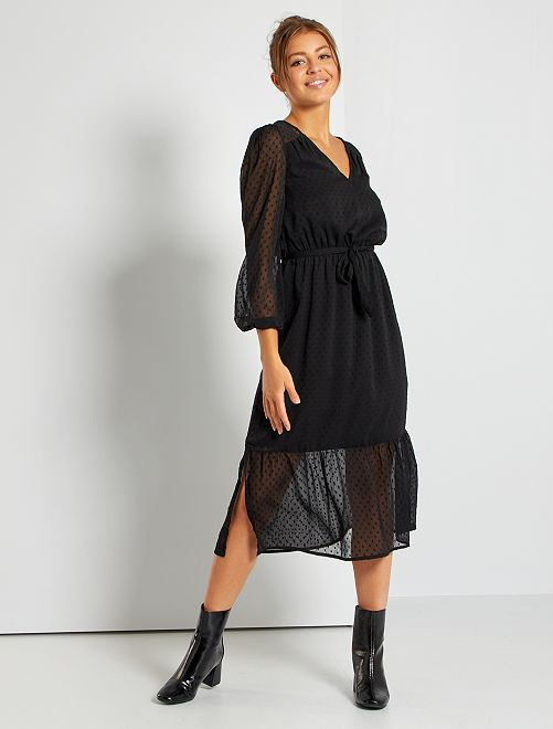 Robe en mousseline plumetis                                                                 noir