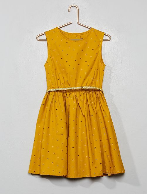 Robe en popeline avec dos ouvert                                                                             jaune moutarde