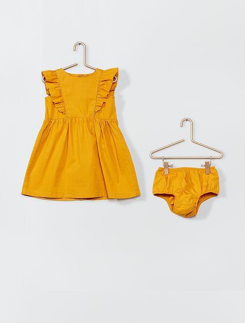 Robe en popeline + culotte                     jaune