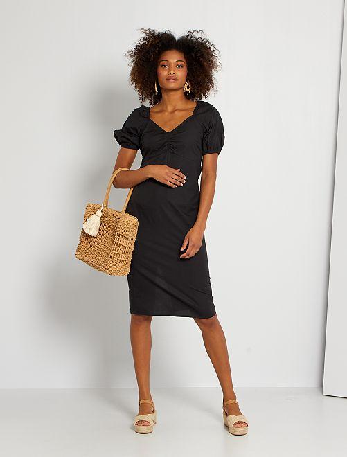 Robe en popeline de coton                             noir