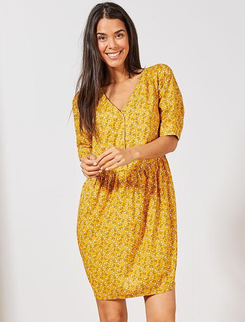 Robe en tissu fluide imprimé                                                     jaune tulipes Femme