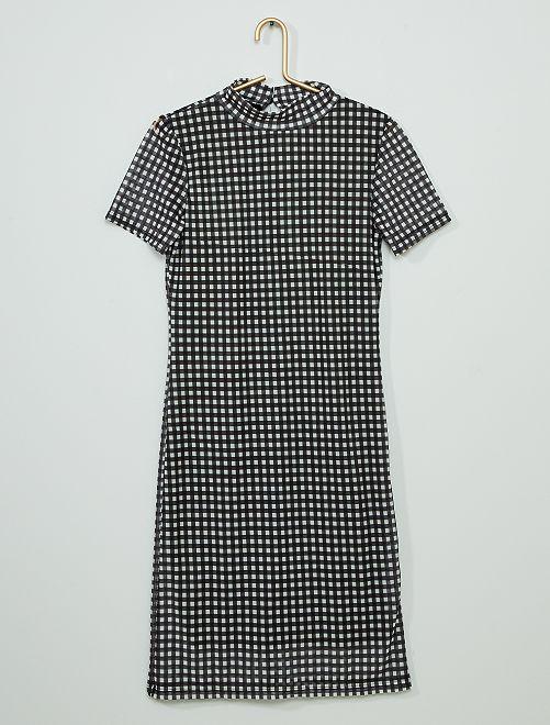 Robe en tulle imprimée Vichy                             noir/blanc