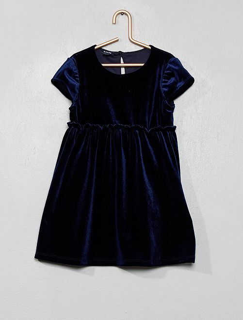 Robe en velours satiné                             bleu